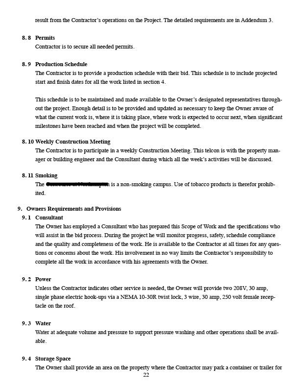 JVS Building Services, LLC Sample Statement of Work Sections 8.8 ...